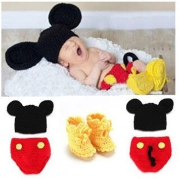 Handmade Baby Infant Newborn Crochet Knit Cap Hat Sweaters Toddler Kids Costume Photograph Prop Mickey