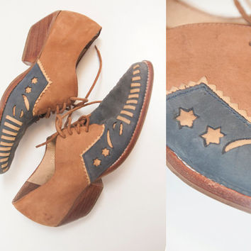 Moon And Stars Leather Ankle Boots 6 5 80s 70s Vintage Womens Western Lace Up
