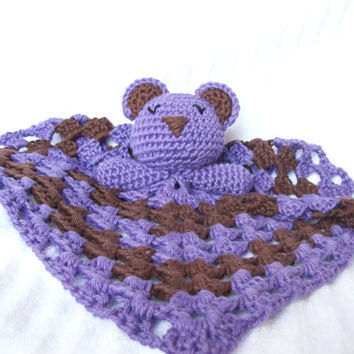Sleeping Teddy Bear Crochet Baby Blanket Lovey Lovie