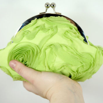 Chiffon flower lime green clutch, small evening bag, pale green, pastel, personalized purse, wrist strap
