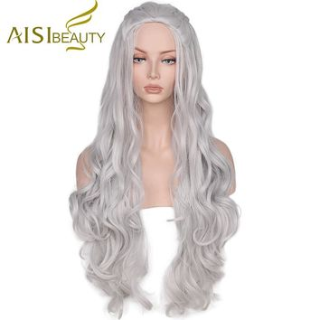 Game of Thrones Daenerys Targaryen Synthetic Wig Wavy Long Grey Cosplay