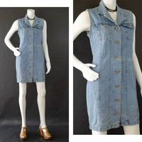 Vintage Denim Dress, Blue Jean Sleeveless Dress,  Button Up Mini Dress, Denim Jumper Dress, 80s Cotton Denim Dress, Women's Size Medium