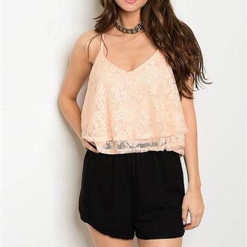 Peach Lace Romper