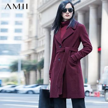 Amii Casual Women Woolen Coat 2017 Winter Single Breasted Belt Turn-down Collar Female Wool Blends