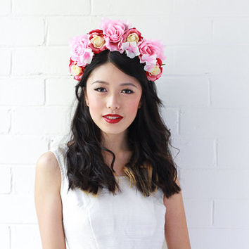 pink red flower crown headband / statement headpiece, hair crown, wedding bridal headpiece, lana del rey, fascinator, spring races.