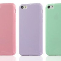 OMIU(TM) 3PCs/ Pack (Pink/ Purple/ Green) TPU Rubber Protective Skin Case Combo Compatible with Apple iPhone 5C
