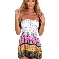 Tribal Print Off Shoulder Low Cut Back Romper