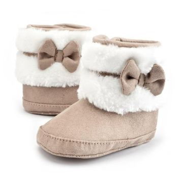 Baby Fur Bowtie Boots
