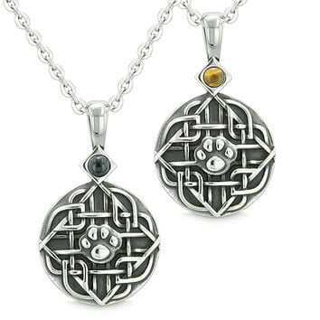 Amulets Love Couple or Best Friends Celtic Wolf Paw Set Tiger Eye and Simulated Onyx Pendant Necklaces