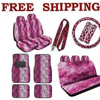 Licensed Official New Pink Leopard Print Seat Covers Steering Wheel Cover Floor Mats Full Set