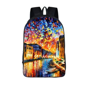 Oil Painting Tourist Attractions Backpack For Teens Venice The Eiffel Tower Backpacks Schoolbags Boys Girls School Bags Backpack