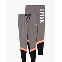 "Victoria's Secret ""PINK"" Stylish Women Letter Print Exercise Fitness Gym Yoga Running Leggings Sweatpants I"