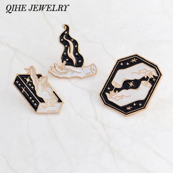 QIHE JEWELRY Black witch and handbook flame enamel pin black and white hand brooches Badges Pinback Witch pin Witch jewelry Punk