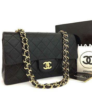 CHANEL Double Flap 25 Quilted CC Logo Lambskin w/Chain Shoulder Bag Black/o223