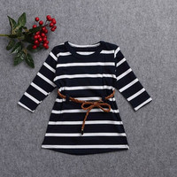 New Fashion Kids Girls Long Sleeved Striped Dress With Belt