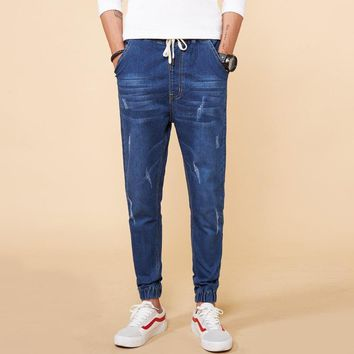 High Stretch Skinny Fit Jeans Men Knee Ripped Distressed Denim Trousers 2018 New Spring Plus Size M-8XL Casual Denim Harem Pants