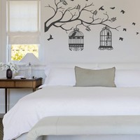 ik330 Wall Decal Sticker Decor bird cage tree twig kids bedroom