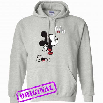 3 Mickey Kissing Minnie + Mr for men for hoodie ash, hooded ash unisex adult