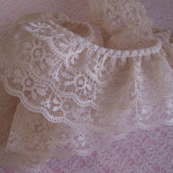 Gathered Triple Ruffled Lace, Natural  Lace, Apparel, Doll Clothes, Costumes, Decorative Lace Trim, Lace for Journals, Crafting Lace