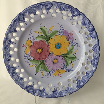 Portuguese Plate, Vestal Alcobaca, Large Platter Size, Hand Painted, Blue on Blue, Signed and Marked, Reticulated Design, Wall Hanging Plate