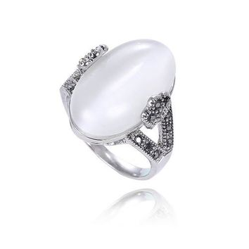 Vintage Jewelry Silver Plated Retro Oval Bezel Setting Natural Stone Opal Rings For Women /RB0116258728