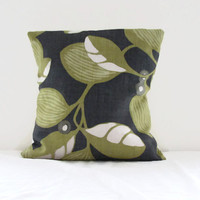 16 inch lime green cushion cover , linen pillow cover in Romo Adelphi in wasabi , demin blue and lime green throw pillow