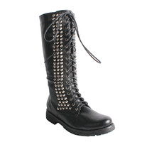 Neway by Beston Women's 'Camila-01' Black Studded Combat Boots  | Overstock.com