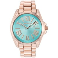 "Wristology Chunky Boyfriend ""Rachel"" Ladies Rose Gold Dial Blue Face Watch Wristwatch for Women"