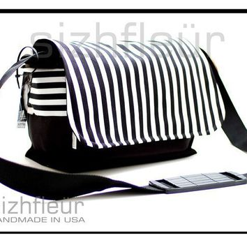 DSLR Camera Travel bag Black and white With Zipper by sizzlestrapz