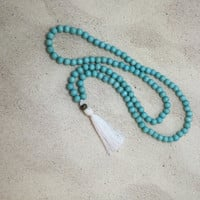 Mala Necklace Aqua beach jewelry Mala Bead Necklace, 108  Mala Beads Prayer Beads Meditation Yoga Jewelry tassel necklace wood bead necklace