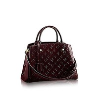Louis Vuitton Montaigne MM Monogram Vernis Leather Handbag Article: M50400 Amarante Made in France