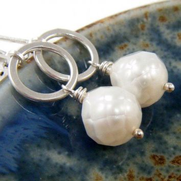 Faceted White Freshwater Pearl Earrings on Sterling Silver Rings | NightSkyJewelry - Jewelry on ArtFire