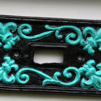 Black & Laguna Green Fleur de lis Light Switch by AquaXpressions
