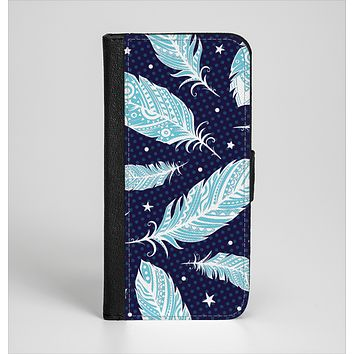 The Blue Aztec Feathers and Stars Ink-Fuzed Leather Folding Wallet Case for the iPhone 6/6s, 6/6s Plus, 5/5s and 5c
