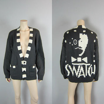 Screaming 80s Vintage Swatch Watch Cardigan Sweater Jumper Wool Blend Oversize New Wave 1980s Digital Graphic Face Grunge