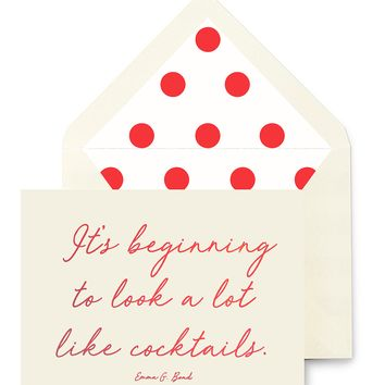 It's Beginning To Look A Lot Like Cocktails Greeting Card, Single or Boxed Set of 8