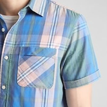 Plaid Short Sleeve Shirt in Poplin | Gap