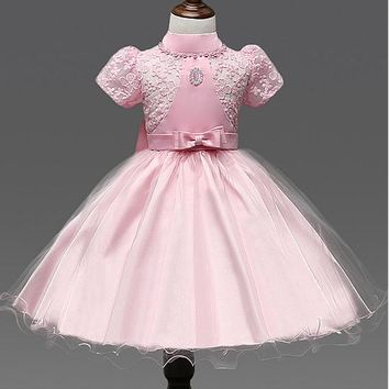 [17.99] In Stock Chic Lace & Tulle High Collar Ball Gown Flower Girl Dresses With Bow - dressilyme.com