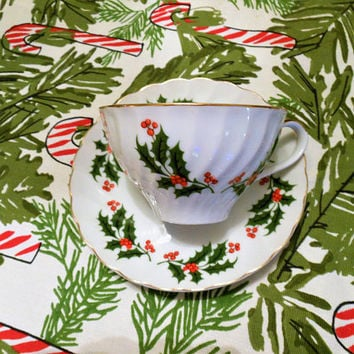 Holiday Holly Collection Tea Cup and Saucer, RB Holiday Holly Collection, Porcelain Christmas Holly and Berry Cup and Saucer with Gold Trim