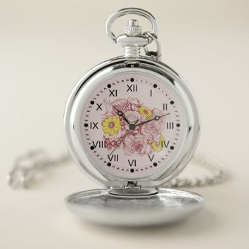 Terra Cotta Outlined Bouquet Artwork Pocket Watch