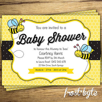 Bee Themed Baby Shower Invitation -  unisex design - digital file to print at home or in store - personalised for you