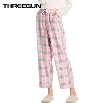 SANQIANG Women 2018 Autumn New Loose Lounge Bottoms Plaid Sleep Pants Gingham Pajama Checks Home Pants Fashion Pijama Trousers