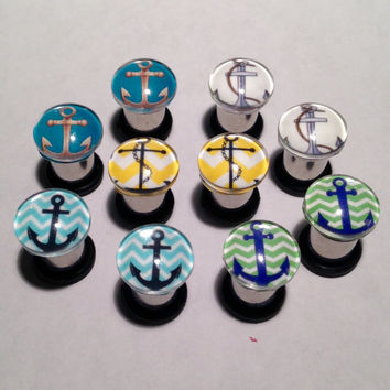 Anchor Picture Plugs & Earrings 14g-00g