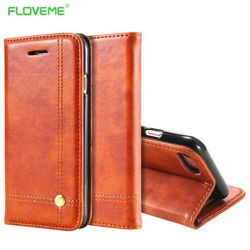 Leather Wallet Case Retro Cover Flip Kickstand  With Card Slot for Apple iPhone 7 7 Plus