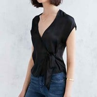 Silence + Noise Surplice Tie-Side Shirt