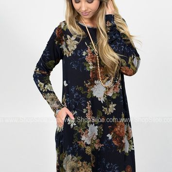 Blossoming Navy Floral Dress