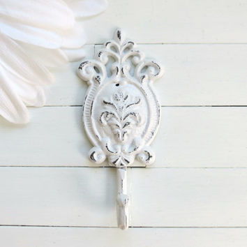 Large White Wall Hook / Shabby Chic / White Home Decor / Metal Hook / French Country Decor / Ornate / Cottage Chic / Fixture / Organize