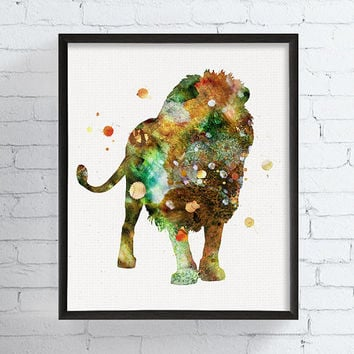 Lion Watercolor Print, Lion Wall Decor, Wild Animal, Wildlife Art, African Animal, Lion Wall Art, Lion Painting, Animal Decor, Nursery Art