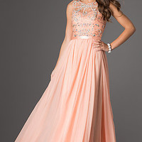 Floor Length Sleeveless Dress with Jewel Detailing