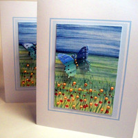 """Butterfly ACEO field of flowers on card 4.25"""" x 5.5"""""""